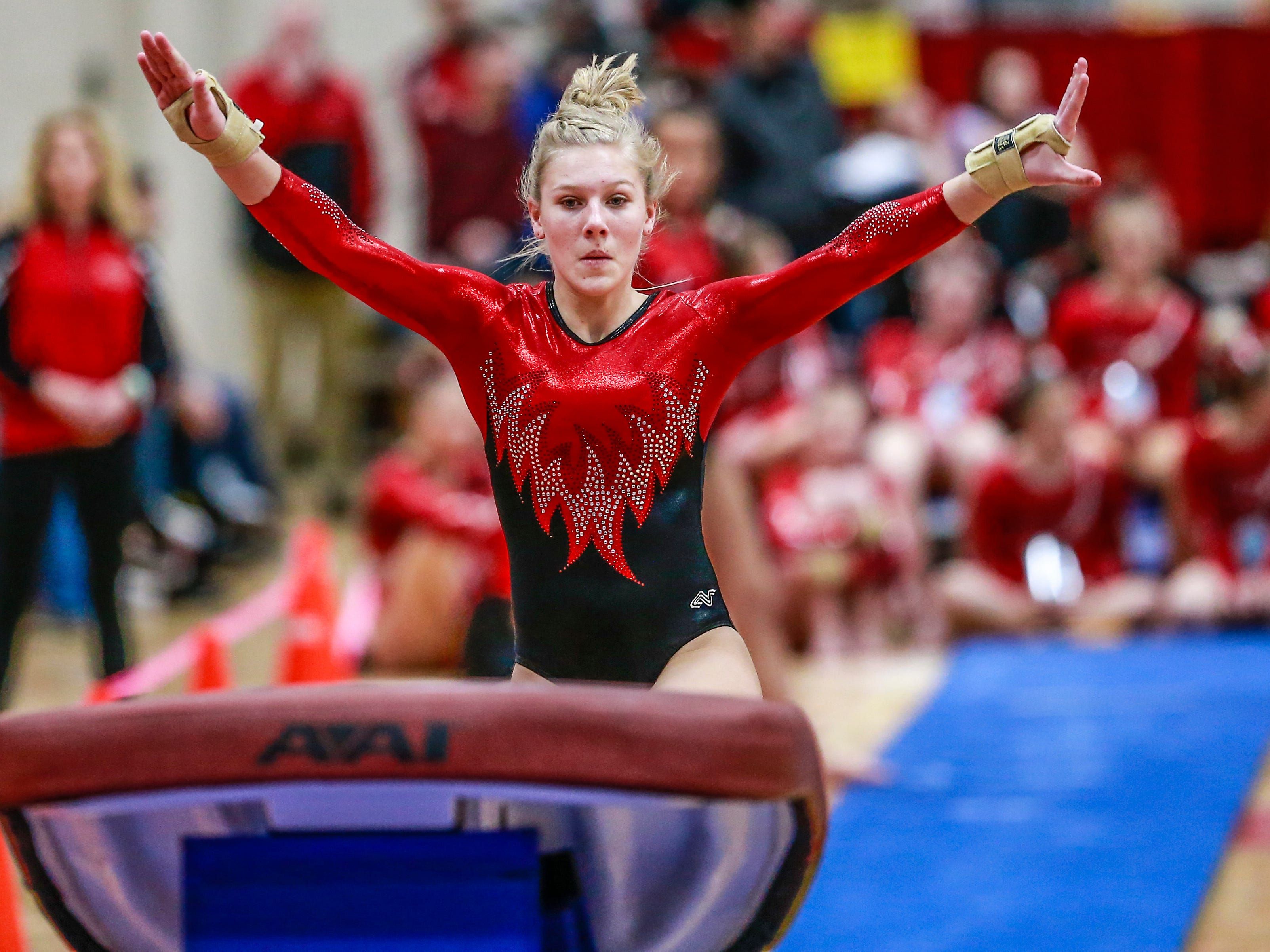 Medford's Brooklyn Bilz competes in the vaulting during WIAA state gymnastics competition Friday, March 1, 2019, at Lincoln High School Field House in Wisconsin Rapids, Wis. T'xer Zhon Kha/USA TODAY NETWORK-Wisconsin