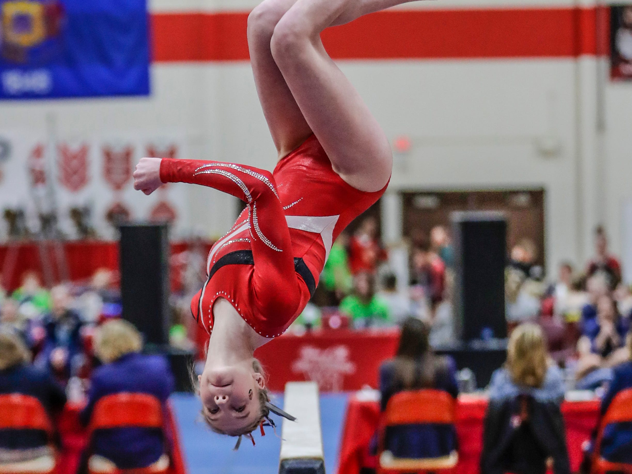 Manitowoc Lincoln's Meghan Borchardt competes on the balance beam in Division 1 during WIAA state gymnastics competition Friday, March 1, 2019, at Lincoln High School Field House in Wisconsin Rapids, Wis. T'xer Zhon Kha/USA TODAY NETWORK-Wisconsin