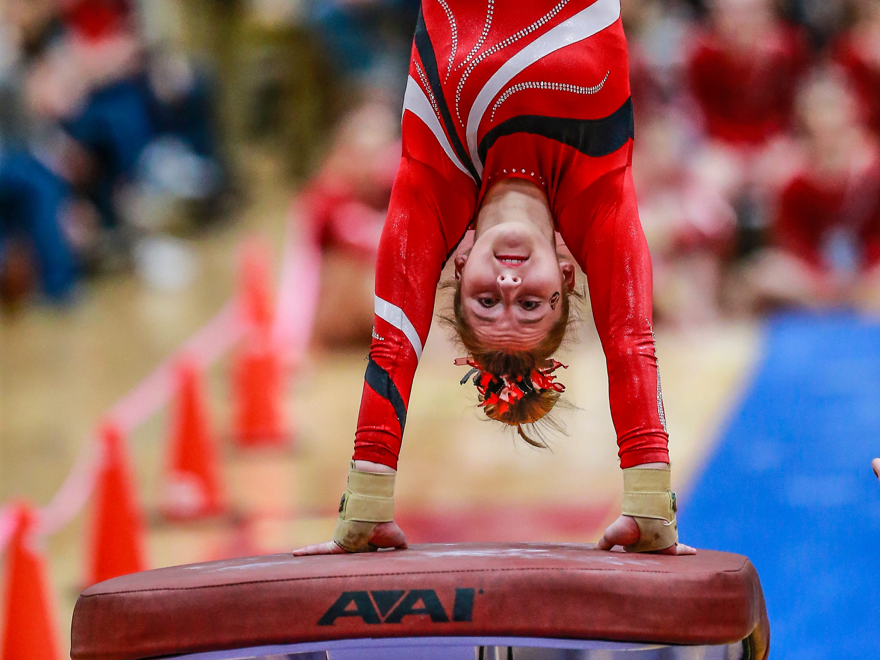 Manitowoc Lincoln's Brynn Tackett competes in the vaulting during WIAA state gymnastics competition Friday, March 1, 2019, at Lincoln High School Field House in Wisconsin Rapids, Wis. T'xer Zhon Kha/USA TODAY NETWORK-Wisconsin