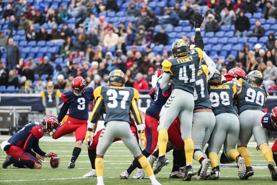 March 02, 2019 - Austin MacGinnis kicks a field goal during Saturday's game against the San Diego Fleet.