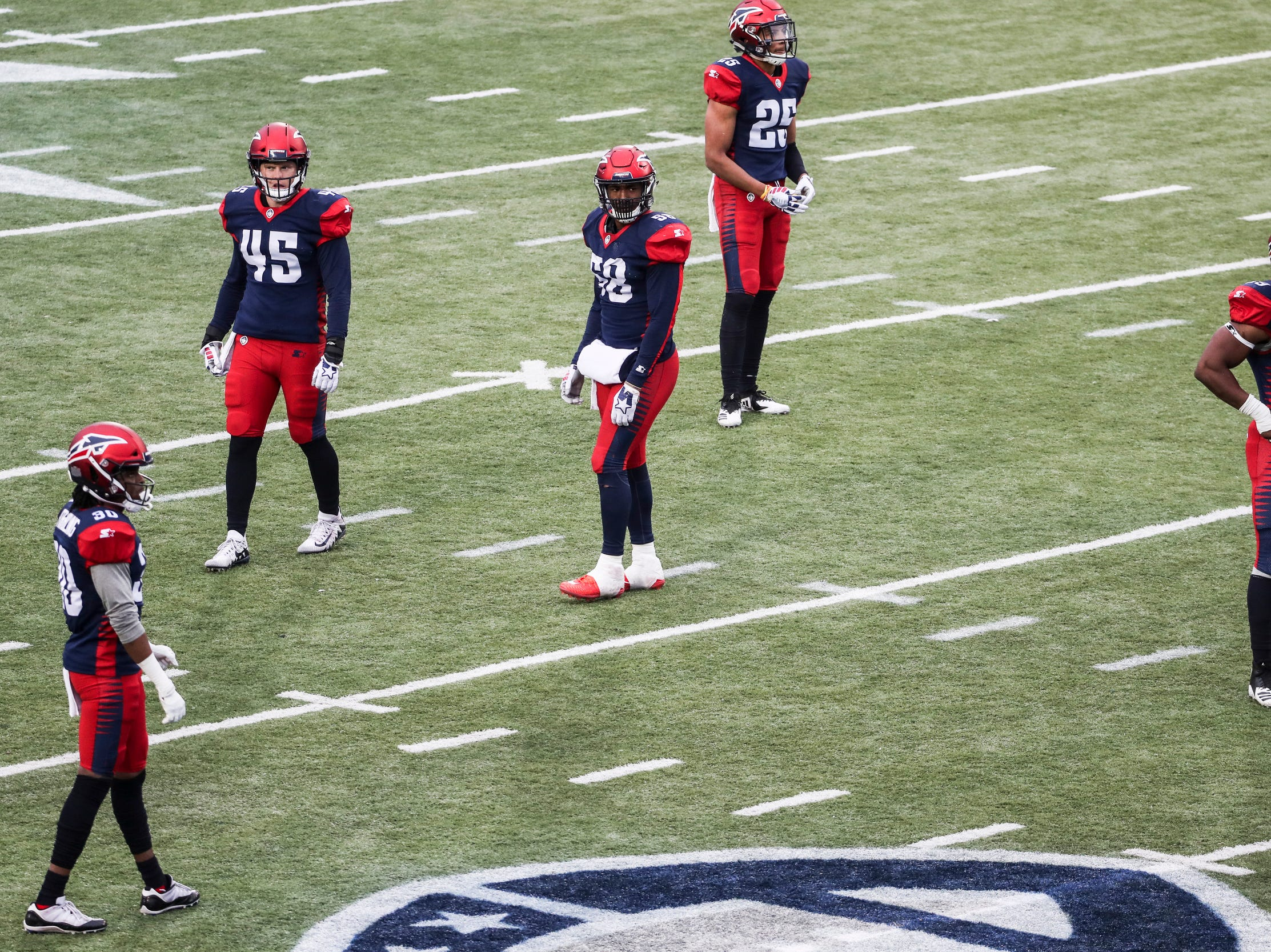 March 02, 2019 - Memphis Express players are seen during Saturday's game against the San Diego Fleet.