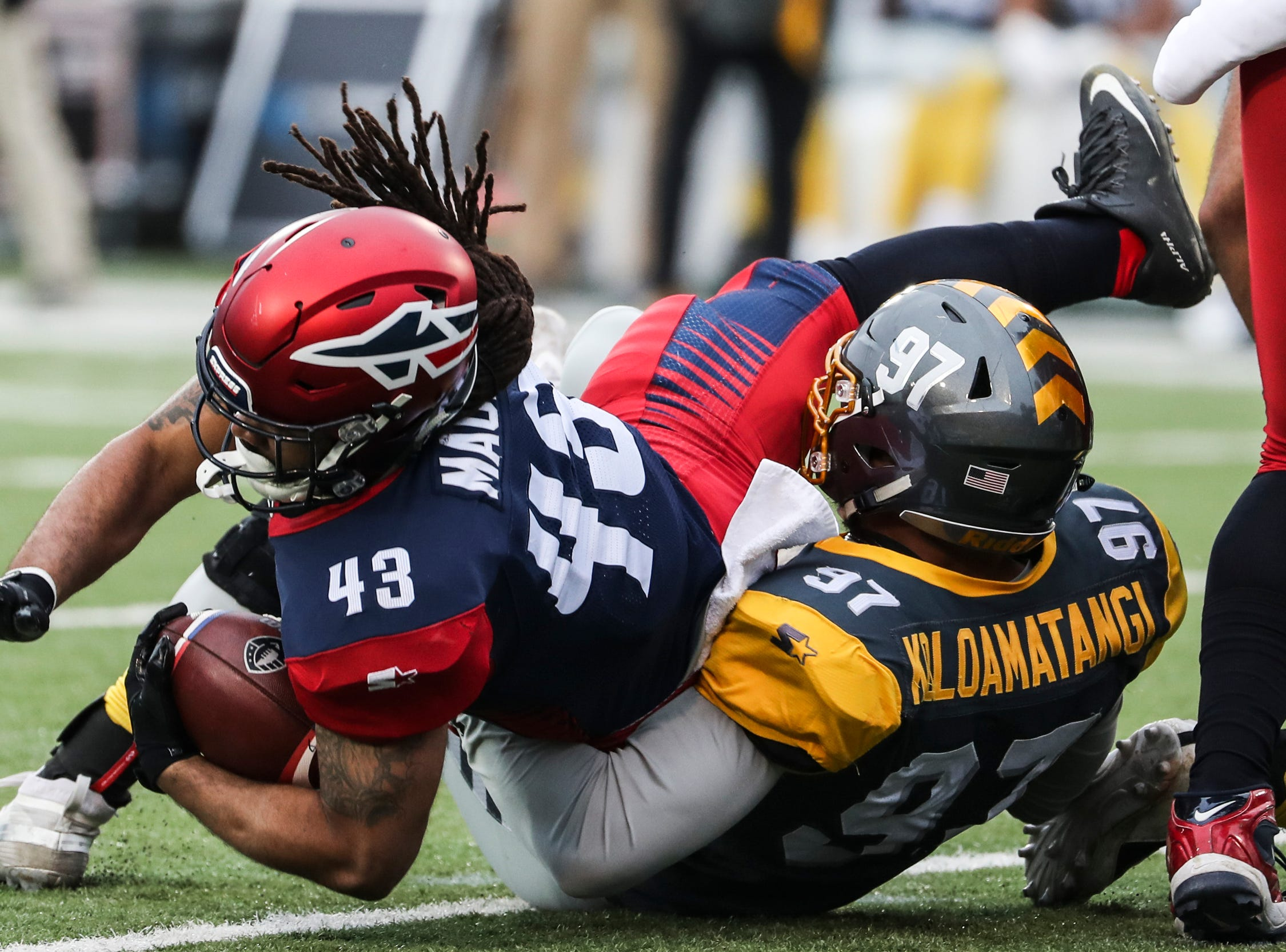 March 02, 2019 - Memphis Express' Terrence Magee is brought down during Saturday's game against the San Diego Fleet.