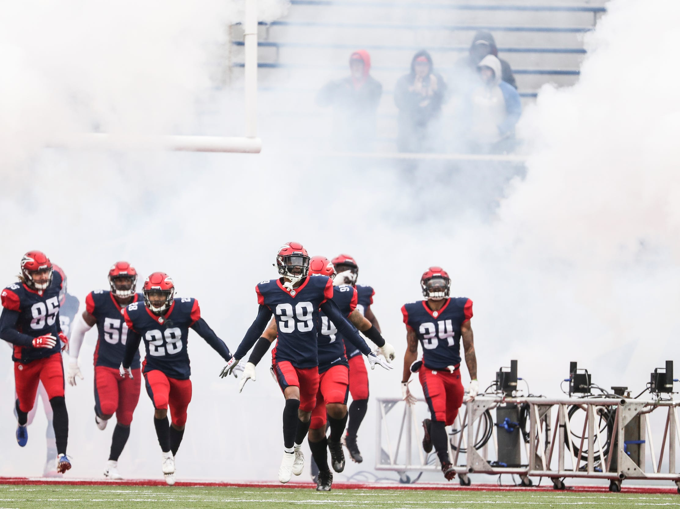 March 02, 2019 - The Memphis Express take the field at the start of Saturday's game against the San Diego Fleet.