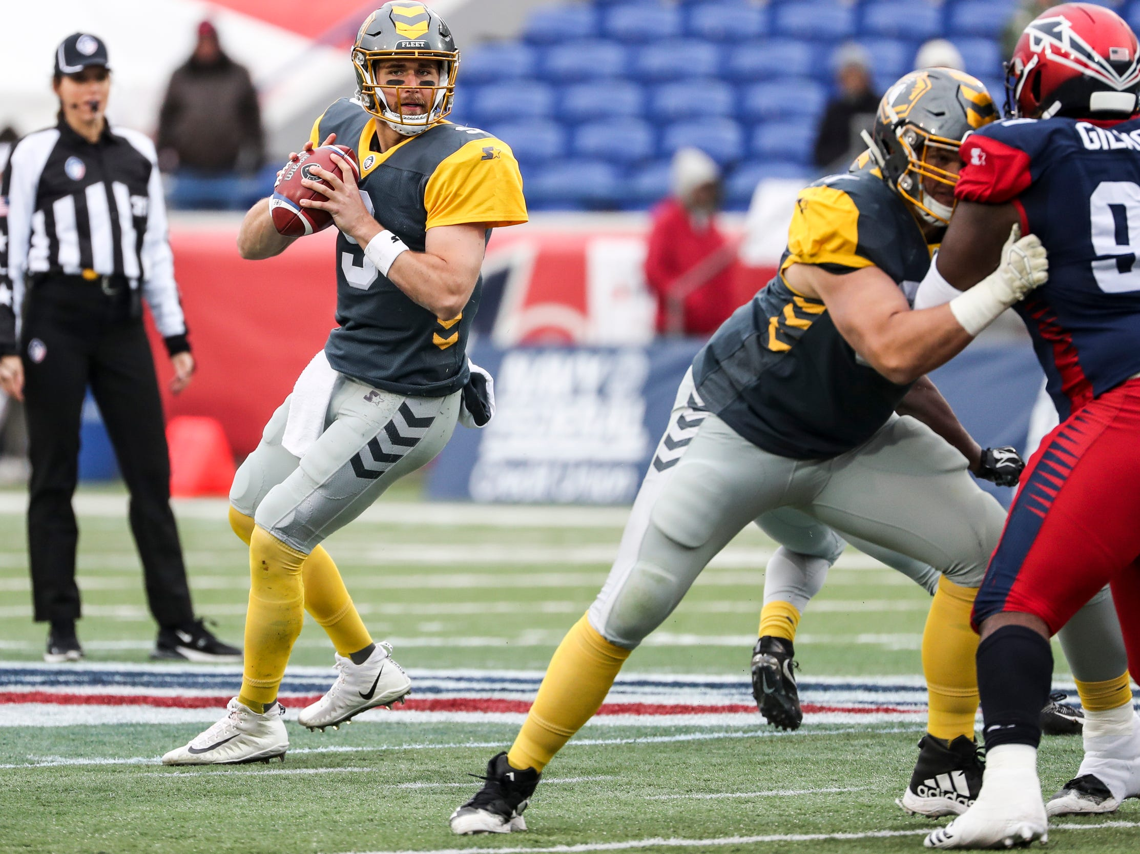 March 02, 2019 - San Diego's quarterback Philip Nelson looks to throw the ball during Saturday's game against the San Diego Fleet.