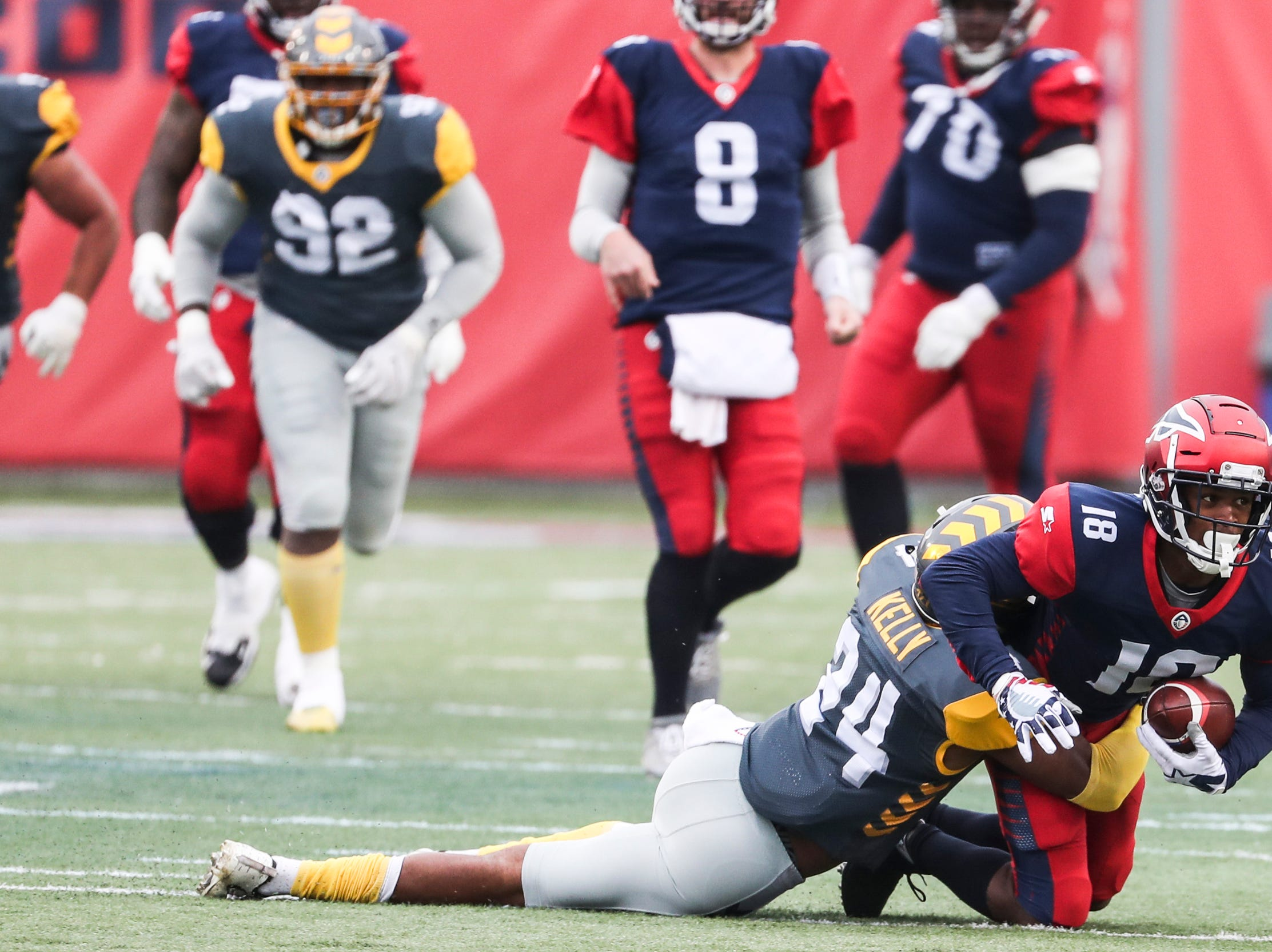 March 02, 2019 - Dontez Byrd is brought down during Saturday's game against the San Diego Fleet.