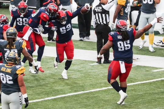 March 02, 2019 - The Memphis Express celebrate after an interception by Drew Jackson, 53, during Saturday's game against the San Diego Fleet.