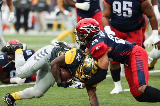 March 02, 2019 - Memphis Express' Arnold Tarpley III brings down San Diego's Ja'Quan Gardner during Saturday's game against the San Diego Fleet.