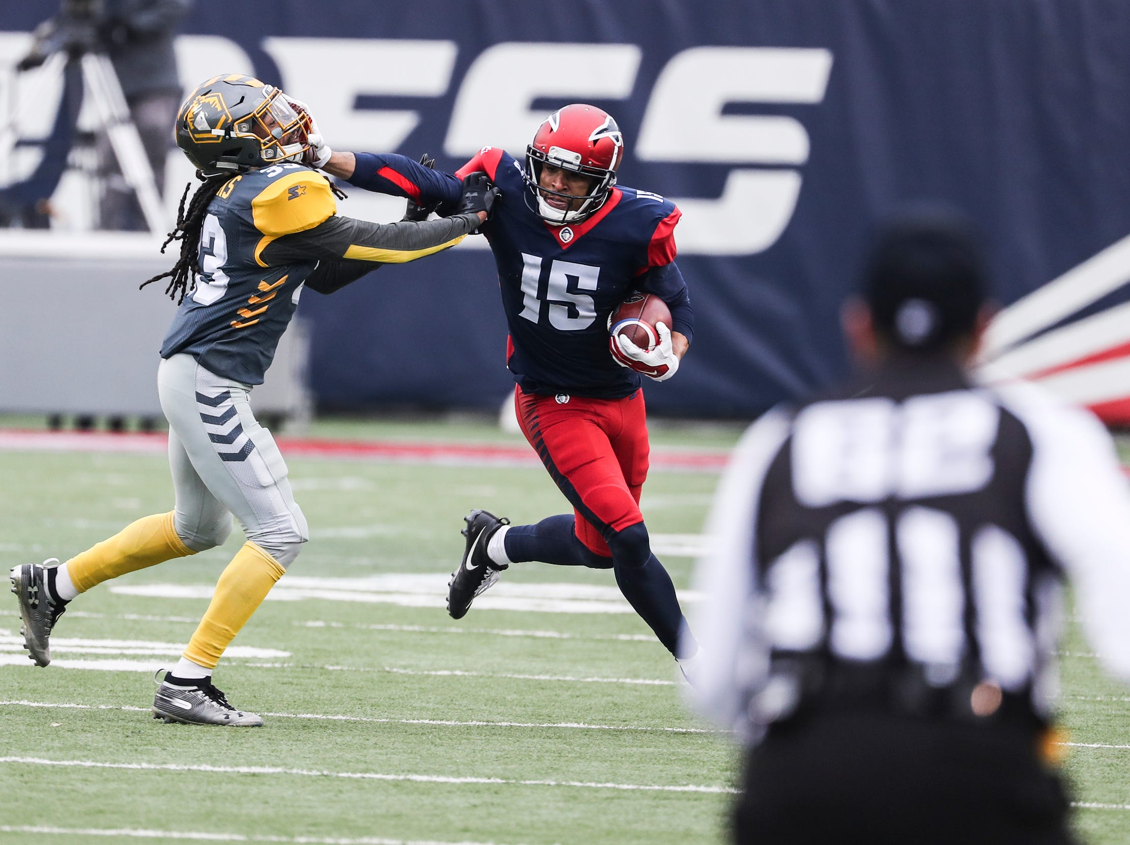 March 02, 2019 - Memphis Express' Devin Lucien attempts to outrun a defender during Saturday's game against the San Diego Fleet.