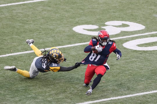 """March 02, 2019 - Memphis Express' Alton """"Pig"""" Howard gets away from a defender during Saturday's game against the San Diego Fleet."""