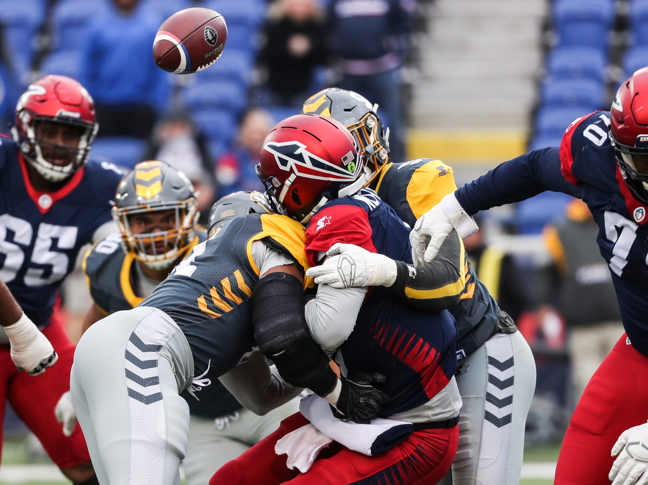 March 02, 2019 - Memphis Express' quarterback Zach Mettenberger loses the ball as he is sacked during Saturday's game against the San Diego Fleet.