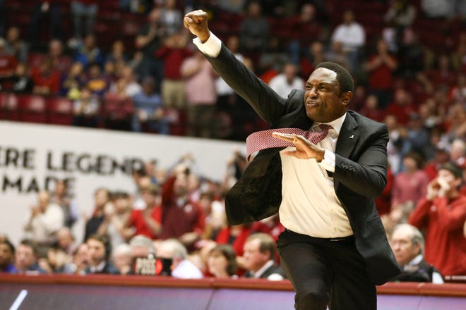 Mar 2, 2019; Tuscaloosa, AL, USA; Alabama Crimson Tide head coach Avery Johnson  reacts during the first half against LSU Tigers at Coleman Coliseum. Mandatory Credit: Marvin Gentry-USA TODAY Sports