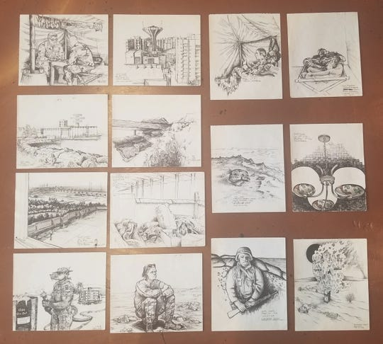 Columbus Cook drew scenes from life around camp during breaks while serving during Operation Desert Storm in Saudi Arabia.