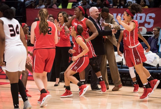 Hazel Green's team celebrates after winning the Class 6A state championship at Legacy Arena in Birmingham, Ala., on Saturday, March 2, 2019.