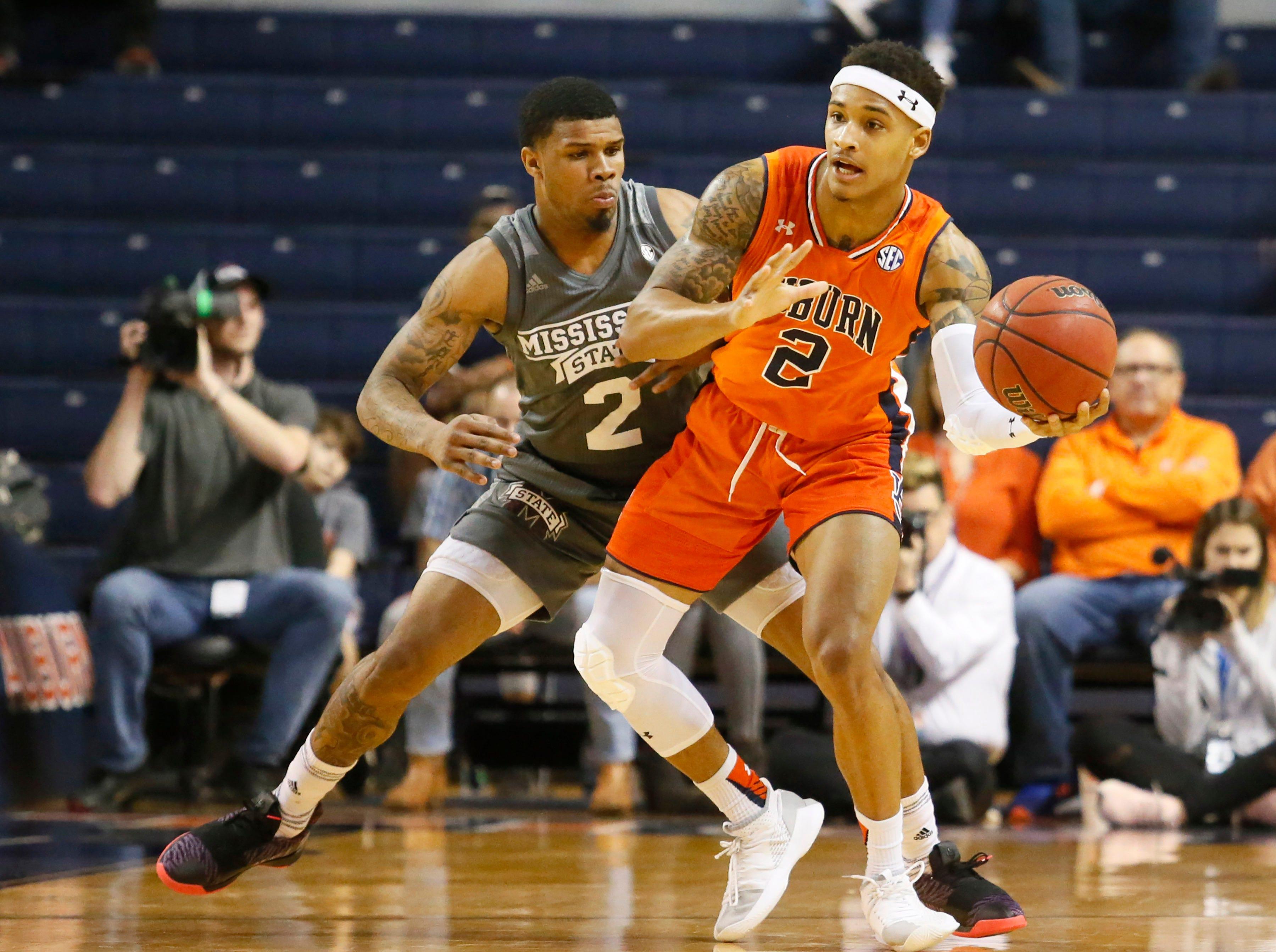 Mar 2, 2019; Auburn, AL, USA; Mississippi State Bulldogs guard Lamar Peters (2) pressures Auburn Tigers guard Bryce Brown (2) during the first half at Auburn Arena. Mandatory Credit: John Reed-USA TODAY Sports