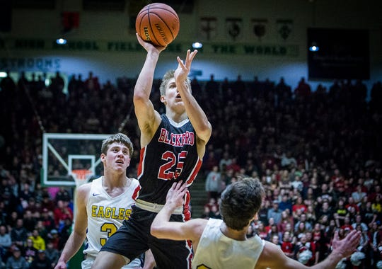 Blackfords Luke Brown shoots against Delta in their sectional game at New Castle High School Friday, March 1, 2019.