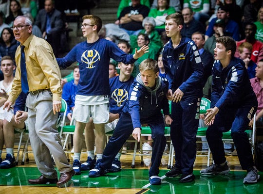 FILE -- Delta players react during their game sectional game against Blackford at New Castle High School Friday, March 1, 2019.