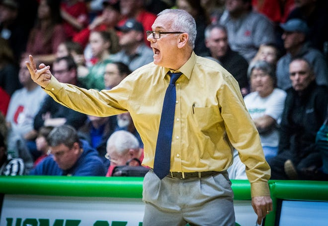 Delta's Mark Detweiler coaches against Blackford in their sectional game at New Castle High School Friday, March 1, 2019.