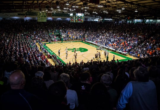Thousands attended the Delta versus Blackford and New Castle versus Hamilton Heights games at New Castle High School Friday, March 1, 2019.