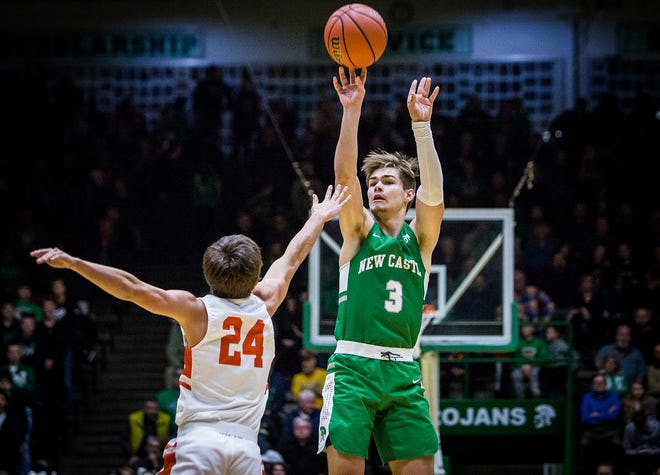 New Castle's Luke Bumbalough sinks a three-pointer against Hamilton Heights during their sectional game at New Castle High School Friday, March 1, 2019.