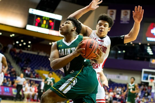 Briarcrest Christian's Omari Thomas (0) looks to shoot against Brentwood Academy in the Division II-AA state finals in March.