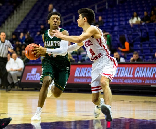 Briarcrest Christian's Kennedy Chandler, left, is one of the top returning prep basketball players in Memphis this season.