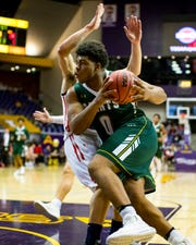 Briarcrest Christian's Omari Thomas (0) drives towards the basket during Brentwood Academy's game against Briarcrest Christian in the finals of the TSSAA Division II Class AA State Championships at Lipscomb University's Allen Arena in Nashville on Saturday, March 2, 2019.