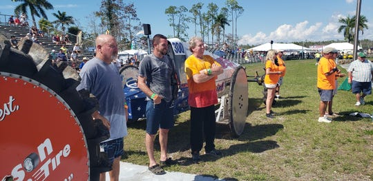 Drivers (L to R) Dan Greenling, Tyler Johns and Bobby Williams watch during the pro-modified challenge Saturday, March 2, during a practice session at Florida Sports Park for the Swamp Buggy Races Bud Cup Championship.
