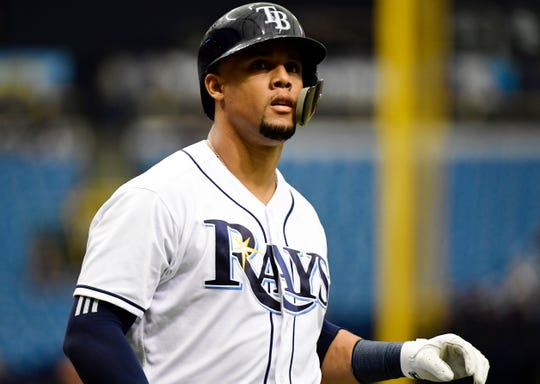 Carlos Gomez of the Tampa Bay Rays during a game against the New York Yankees on Sept. 27, 2018 at Tropicana Field in St Petersburg, Florida.