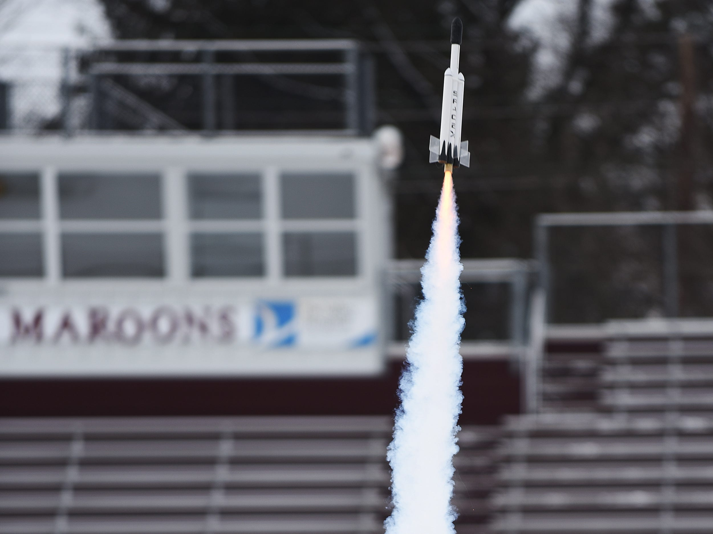 A rocket tkes flight during the Rocket Launch on Super Science Saturday held at Ridgewood High School in Ridgewood on Saturday March 2, 2019.