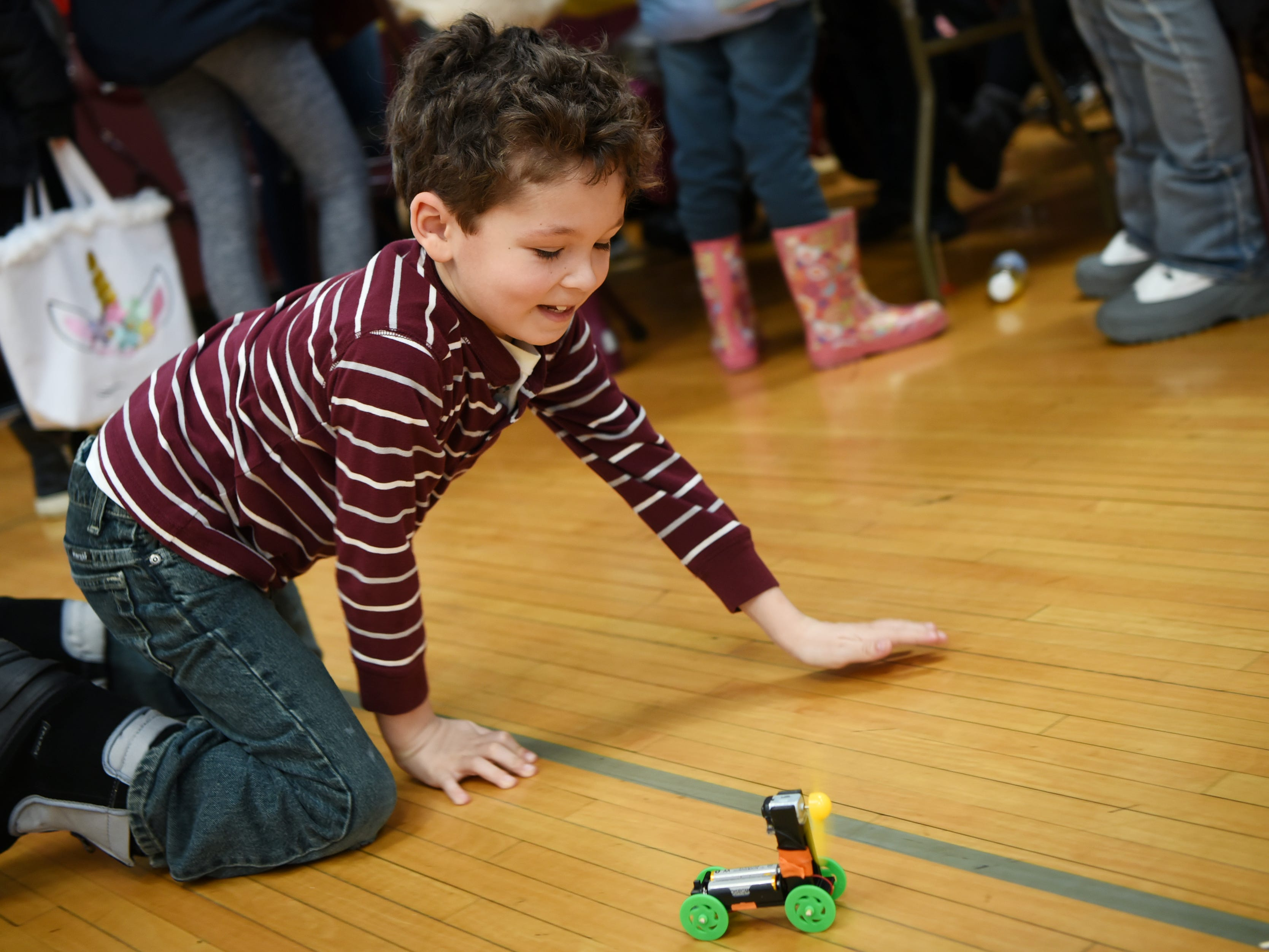 Jason Muzio, 7, plays with the wind-powered electric car he just created. This is one of many activities during Super Science Saturday held at Ridgewood High School in Ridgewood on Saturday March 2, 2019.