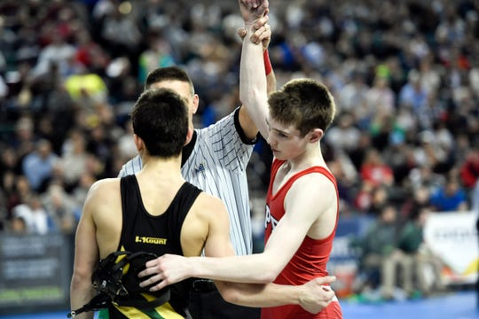 Nick Babin of Emerson/Park Ridge, right, wins the 113-pound quarterfinal against Vincent Santaniello of Brick on Day 2 of the NJSIAA state wrestling tournament on Friday, March 1, 2019, in Atlantic City.