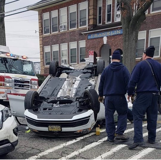 A Lyndhurst woman overturned her vehicle after she sideswiped a parked car on Stuyvesant Avenue. 3/1/2019