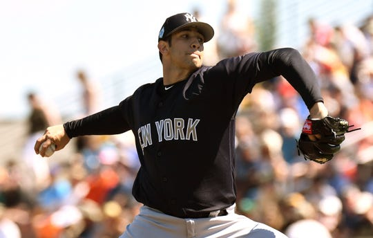 Mar 2, 2019; Bradenton, FL, USA; New York Yankees pitcher Luis Cessa (85) throws a pitch in the first inning of the spring training game against the Pittsburgh Pirates at LECOM Park.