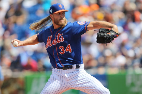 Noah Syndergaard pitches against the Astros, Saturday, March 2, 2019.