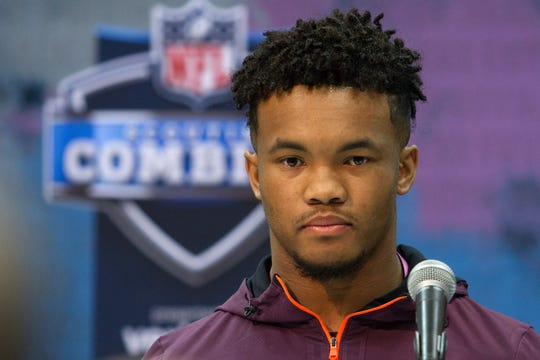 Mar 1, 2019; Indianapolis, IN, USA; Oklahoma quarterback Kyler Murray (QB11) speaks to media during the 2019 NFL Combine at the Indiana Convention Center.