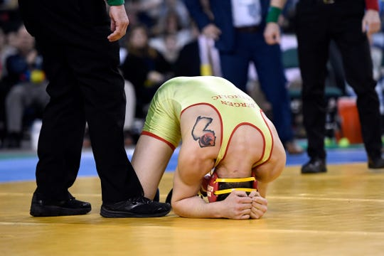 Chris Foca of Bergen Catholic reacts after winning the 182-pound NJSIAA state wrestling title on Saturday, March 2, 2019, in Atlantic City.