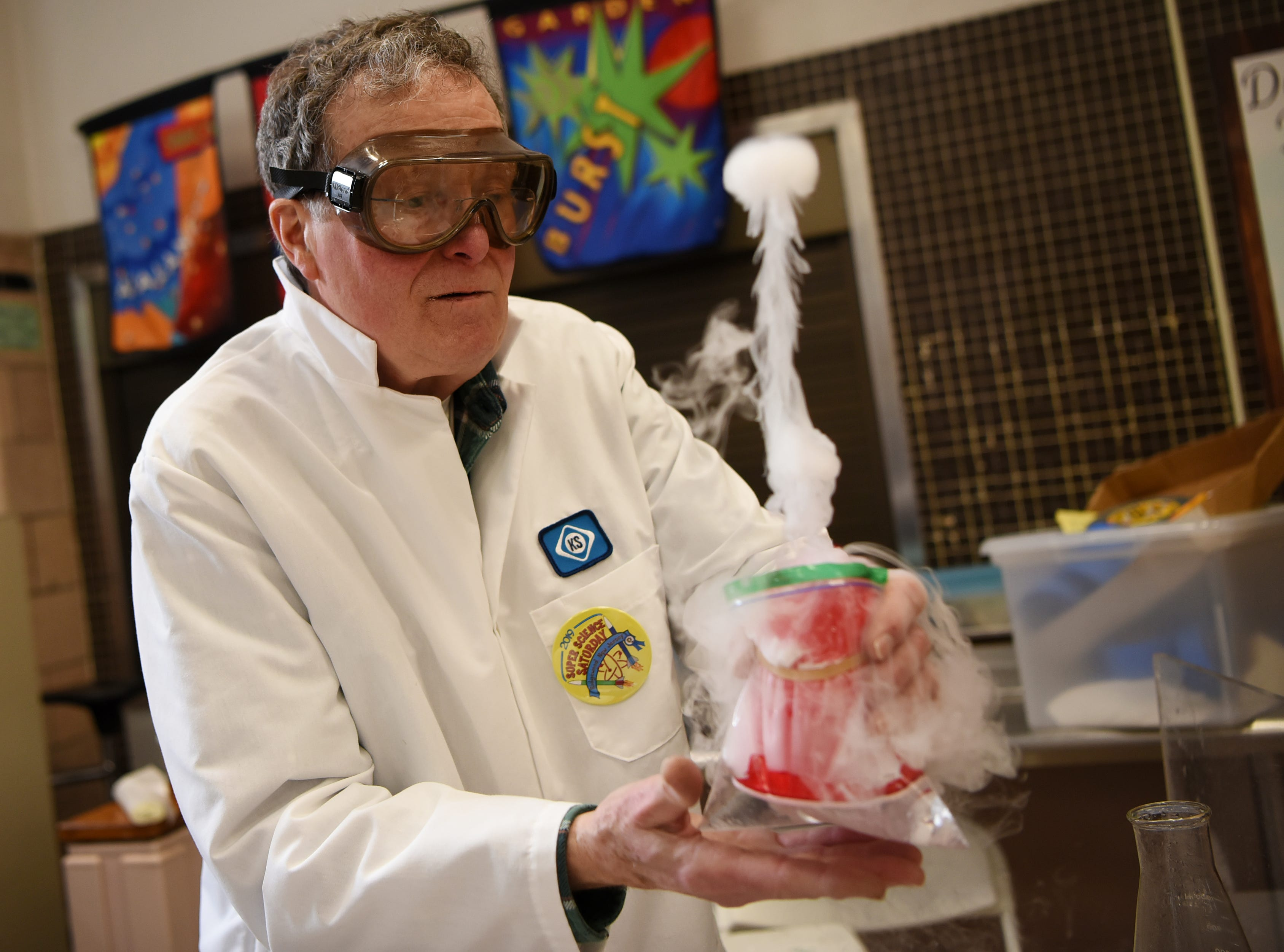 Richard Copp does an experiment with dry ice. This is one of many activities during Super Science Saturday held at Ridgewood High School in Ridgewood on Saturday March 2, 2019.