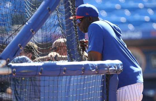 Mets Hitting Coach, Chili Davis, observes batting practice, Saturday, March 2, 2019.