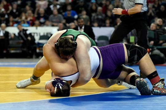 Zach DelVecchio of South Plainfield wrestles Michael Filieri of Garfield in the 220-pound final match in the NJSIAA state wrestling tournament on Saturday, March 2, 2019, in Atlantic City.