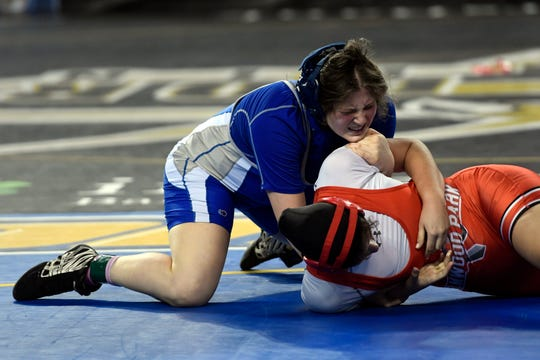 Erin Emery of Teaneck wrestles Maria Taseva of Elmwood Park in the 185-pound semifinal on Day 2 of the NJSIAA state wrestling tournament on Friday, March 1, 2019, in Atlantic City.