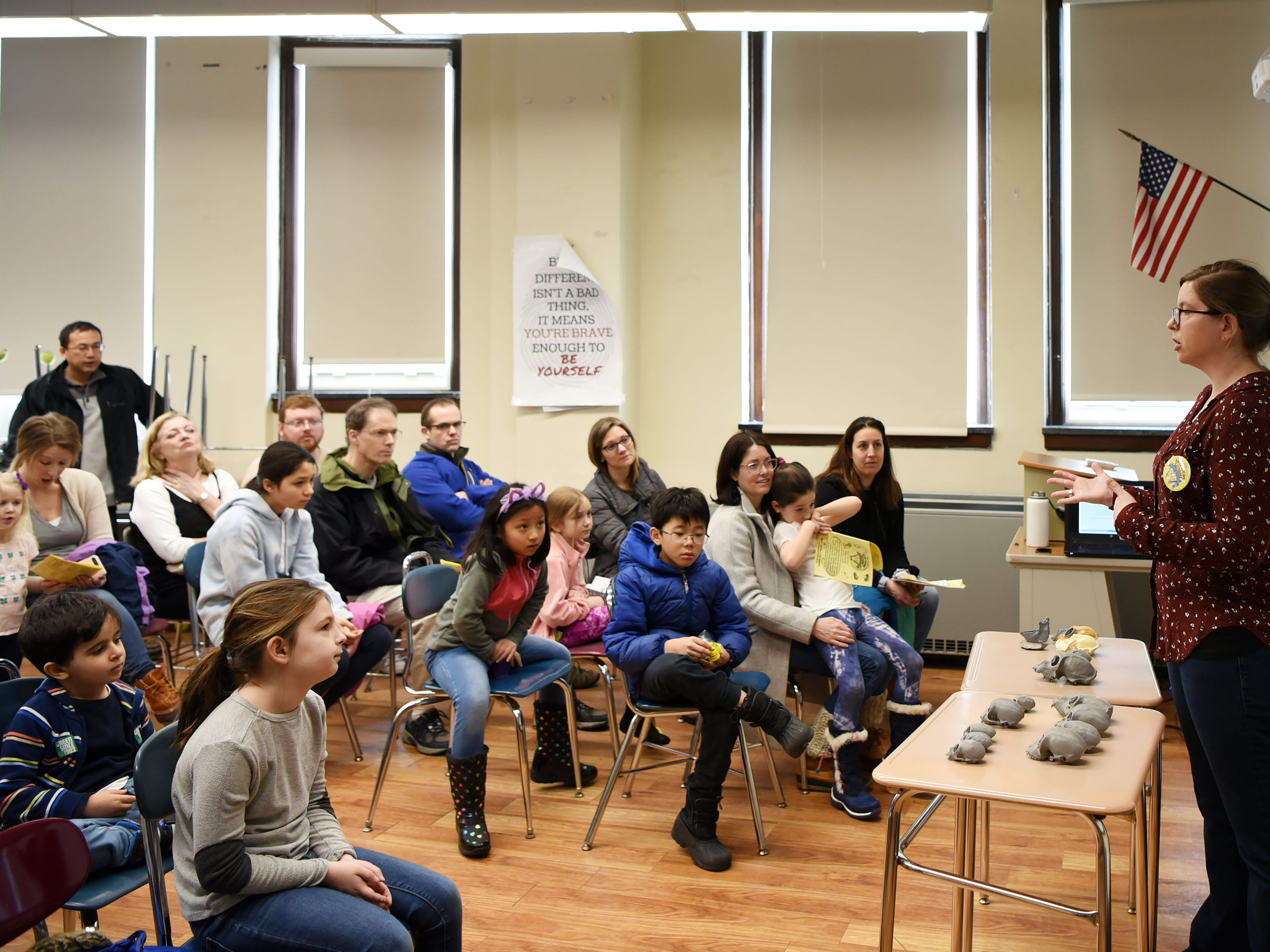 "Lauren B. Halenar-Price, PHD and former Ridgewood Student, during a lecture ""Supermonkey of the Americas"". This is one of many activities during Super Science Saturday held at Ridgewood High School in Ridgewood on Saturday March 2, 2019."