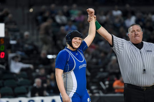 Erin Emery of Teaneck wins the 185-pound title during the finals of the NJSIAA state wrestling tournament on Saturday, March 2, 2019, in Atlantic City.