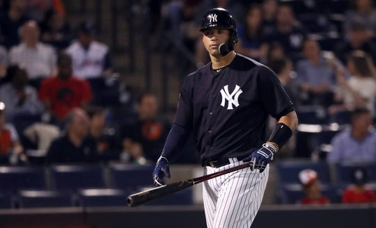 Mar 1, 2019; Tampa, FL, USA; New York Yankees catcher Gary Sanchez (24) walks back to the dugout as he strikes out during the first inning against the Baltimore Orioles at George M. Steinbrenner Field.