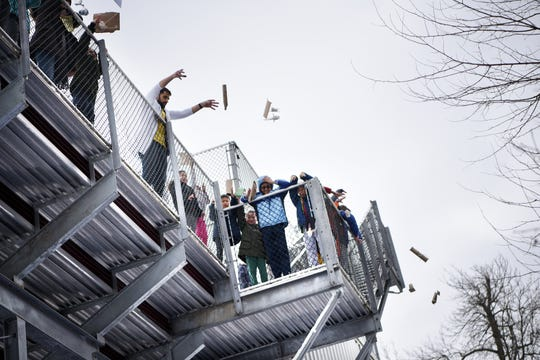 The Egg Drop, where children must create a device  that will prevent their egg from breaking from a 30 foot drop. This is one of many hands on activities during Super Science Saturday held at Ridgewood High School in Ridgewood on Saturday March 2, 2019.