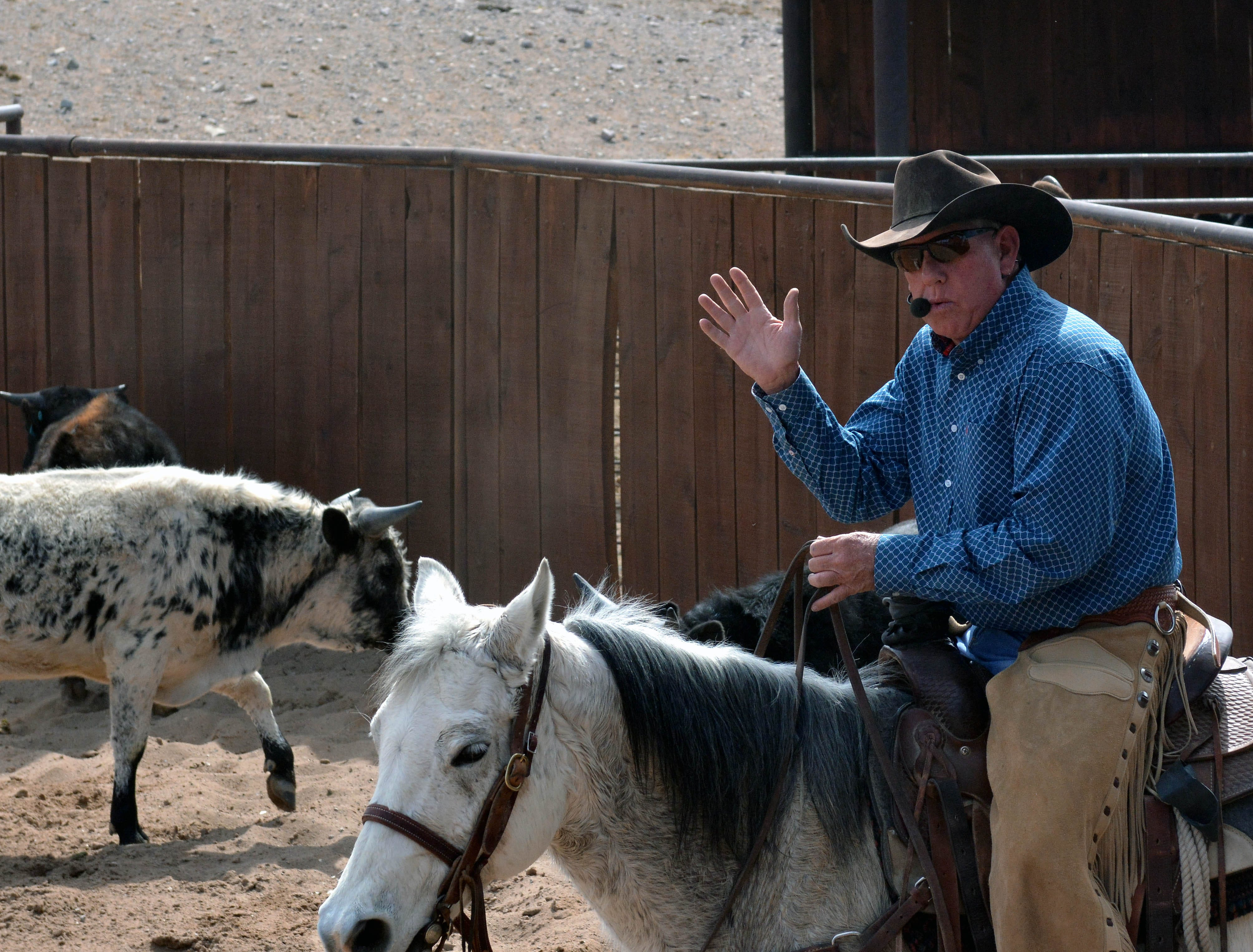 Farm and Ranch Heritage Museum livestock foreman Greg Ball gives a lecture about Corriente yearling bulls during the Parade of Breeds at the 20th annual Cowboy Days, held Saturday, March 2, 2019, at the New Mexico Farm and Ranch Heritage Museum.