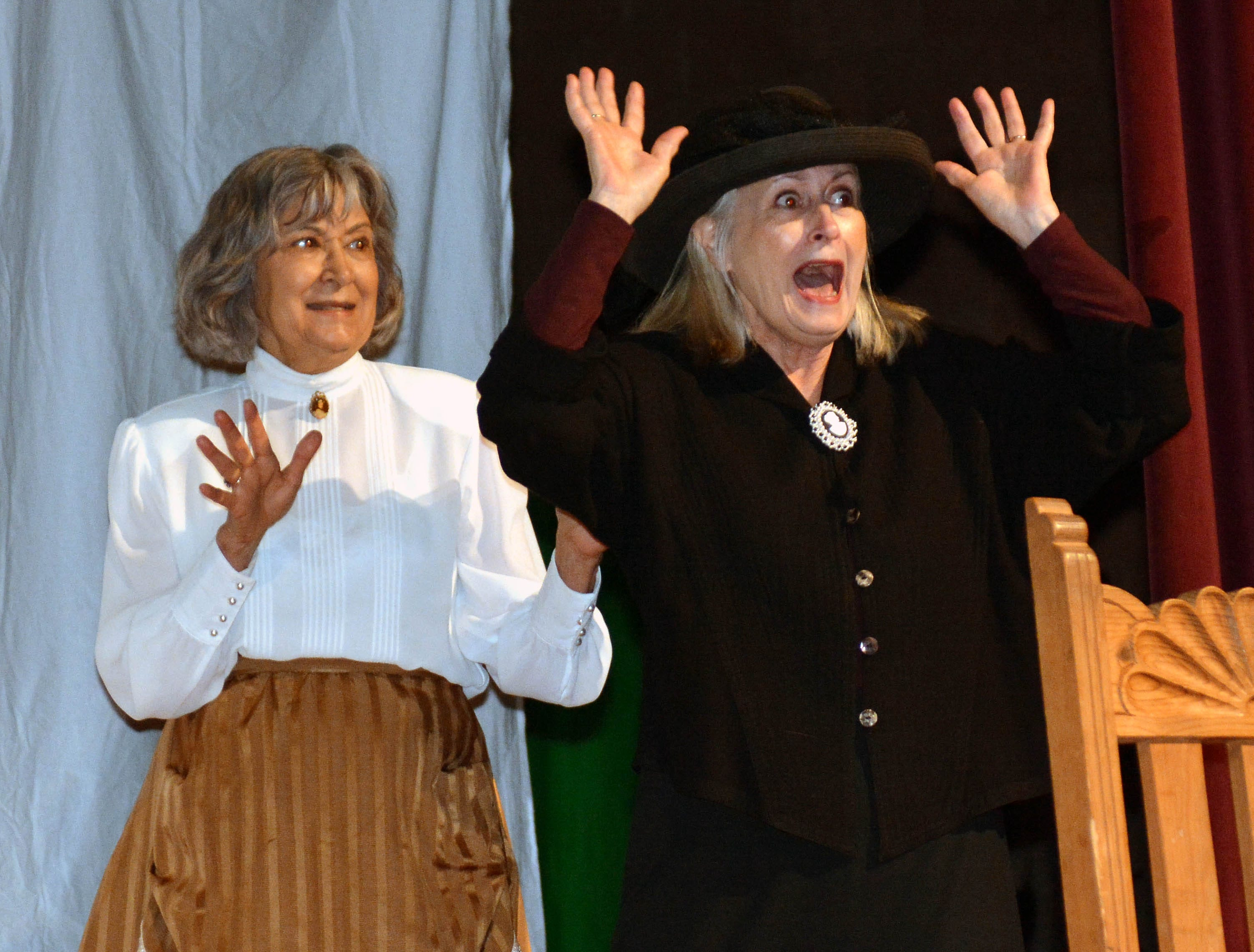 "Angie Morgan, left, and Beth Czernick perform the short skit ""Evil Banker Melodrama"" as part of the 20th annual Cowboy Days held Saturday, March 2, 2019, at the New Mexico Farm and Ranch Heritage Museum."