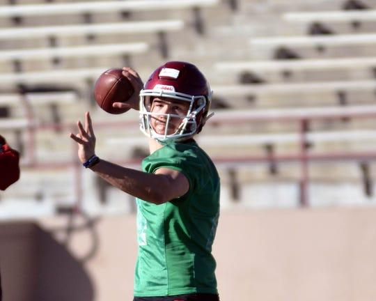 NMSU quarterback Josh Adkins.  Photo taken 3/1/19.