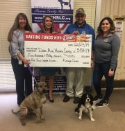 From left are Doña Ana County Humane Society President Teryl Beck, DACHS Executive Director Kathy Lawitz, Cristian Montanez and Marissa Ruiz. The dogs, Sam and Fidget, came from the office next door for the check presentation.
