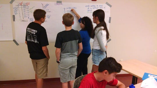 Students participate in an activity during the 2017 MathLab summer program. A group of student researchers at the New Mexico State University College of Education have found that New Mexico math teachers who participated in the MathLab professional development program gained knowledge and confidence that ultimately changed their classroom practice and benefitted students in grades kindergarten through 12.