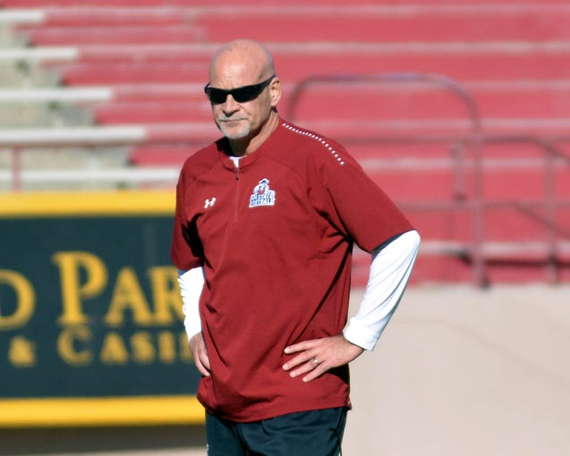 New Mexico State football coach Doug Martin and the Aggies opened spring practice on Friday at Aggie Memorial Stadium.